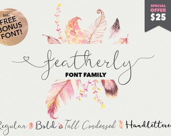 Script font - featherly Font Family - Calligraphy font - elegant typeface Wedding font - photography logo