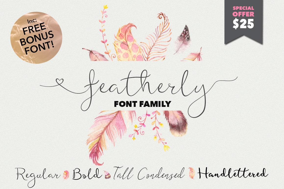 Script font featherly family calligraphy