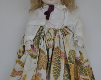 Collectible porcelain doll blond hair vintage porcelan doll long skirt collectable porcelain doll 10'' long vintage doll with clothes