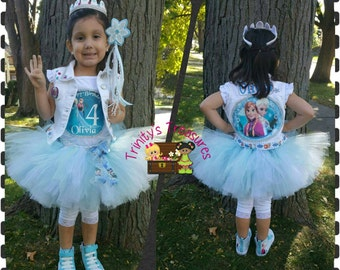 Frozen Tutu Set, Frozen Birthday Outfit, Frozen Party, Frozen Birthday Shirt, Denim Vest, Elsa Anna Shirt,Frozen Birthday Tutu,Birthday Vest