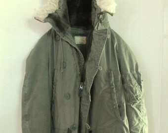 Reduced 30%@@A Vtg 70's EXTREME Weather N 3B Green Military PARKA with SNORKEL Hood.M