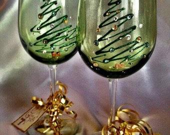 Christmas Wine Glass