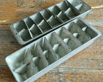 Vintage Metal Ice Cube Trays, Man Cave Decor, Vintage Bar Tools, Vintage Ice Tray, 2 Piece Aluminum Freezer Tray
