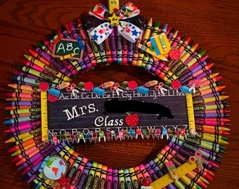 Crayon Wreath for Teachers, Grads, Day Care, etc.