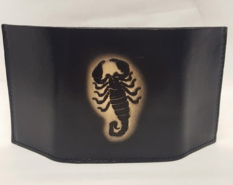 Scorpio Bifold or Trifold Leather Wallet