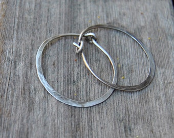 Silver Hoops Earrings...Hammered Silver Earrings Sterling Silver Hoops