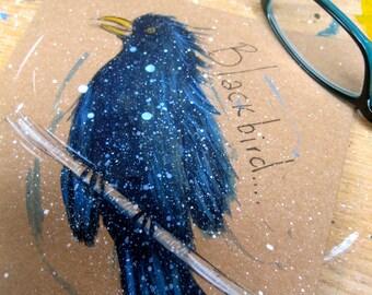 Hand Painted Card British Garden Birds: BlackBird, Raven, Rook, Jackdaw, Chough