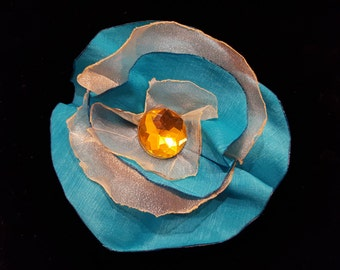 Turquoise and Yellow Flower Hair Clip