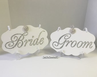 Bling Bride and Groom Chair signs