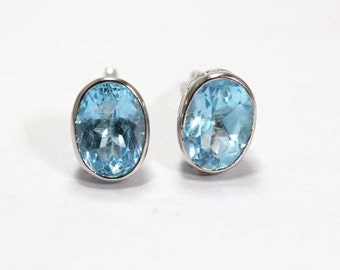 Topaz Cufflinks 925 Sterling Silver Blue Handmade Mens Jewellery by AmoreIndia C345