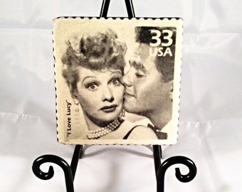 I Love Lucy/Dezi Arnaz Postal Stamp Coaster Set ( includes 4 tiles )