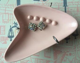 Adorable Aurora Borealis Crystal 1950's Style Clip Earrings