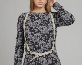 "Grey leather harness ""Simple Beauty"", fashion harness belt, body harness"