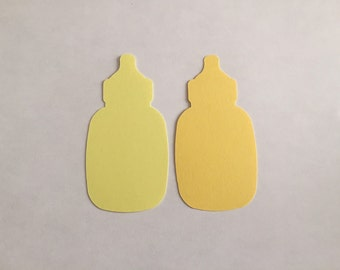 25 Assorted Yellow Baby Bottle Tags, Die Cut Bottle, Baby Shower Decorations, Baby Gift Tags, Advice Tree Tags, Favor Tags, Baby Shower Game