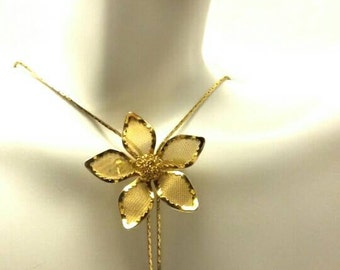 Vintage Lariat Gold Mesh Rose Necklace