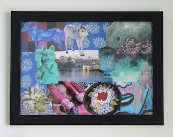 """Soothing Blue Original Photo Collage Framed Art: """"Udaipur Dreams"""" (15.5X11 Inches)"""