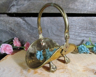 Brass Log Basket, Matchstick Holder, Small Ornamental, Rustic, Fireplace Decor, Vintage Home and Farmhouse Accessories