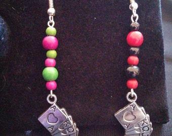 Harley quinn and Joker (DC) Inspired Handmade Asymmetric Beaded Dangle/Drop Earrrings