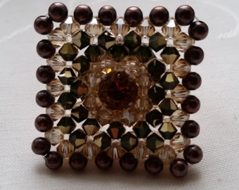"ring ""lisbon"" Swarovski crystal, Brown and golden shadow"