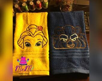 Rose Princess & her Beast! Hand towels!