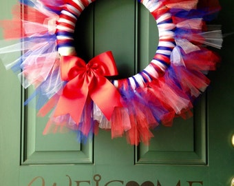 Fourth of July Wreath, July 4th Wreath, Firework Wreath, Americana Wreath, Red White and Blue Wreath, July Fourth Wreath