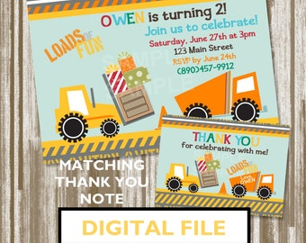 Fork Lift Construction Theme Birthday Invitation & Matching Thank You Note--Personalized Digital File