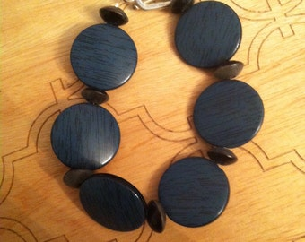 Steel blue and black bracelet