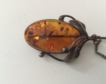 Vintage Amber Stick Pin