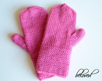 Hand Knitted Toddler Mittens, Knitted Cerise Girls Mittens, Warm Winter Children Mittens, Hand Knit Kids Mittens, Merino Wool Kids Gloves