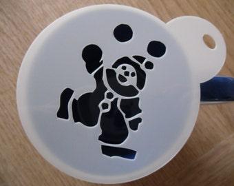 Unique bespoke new laser cut juggling clown coffee stencil