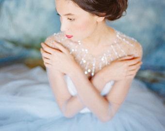 "Blue and grey ball wedding dress ""Ursa"" - Illusion neckline wedding dress, Sparkly fairy tale wedding gown, Princess bridal gown, Milamira"