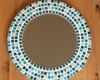 Round Mosaic Wall Mirror - Green - 30cm - Bathroom Mirror