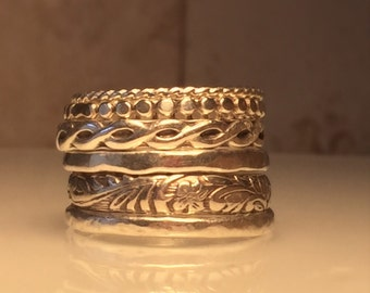Handmade Silver Ring./Handmade Sterling Silver Stacking Ring Set./Free Shipping in the US.