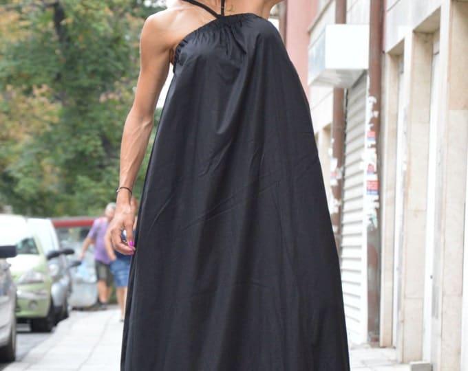 Extravagant Open Back Maxi Dress, Black Kaftan Summer Dress, Sexy Daywear Dress, Long Party Dress By SSDfashion