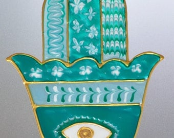 Hamsa decal, Judaica art, Glass door decal, Spiritual gifts, Window decoration, Israeli artists.