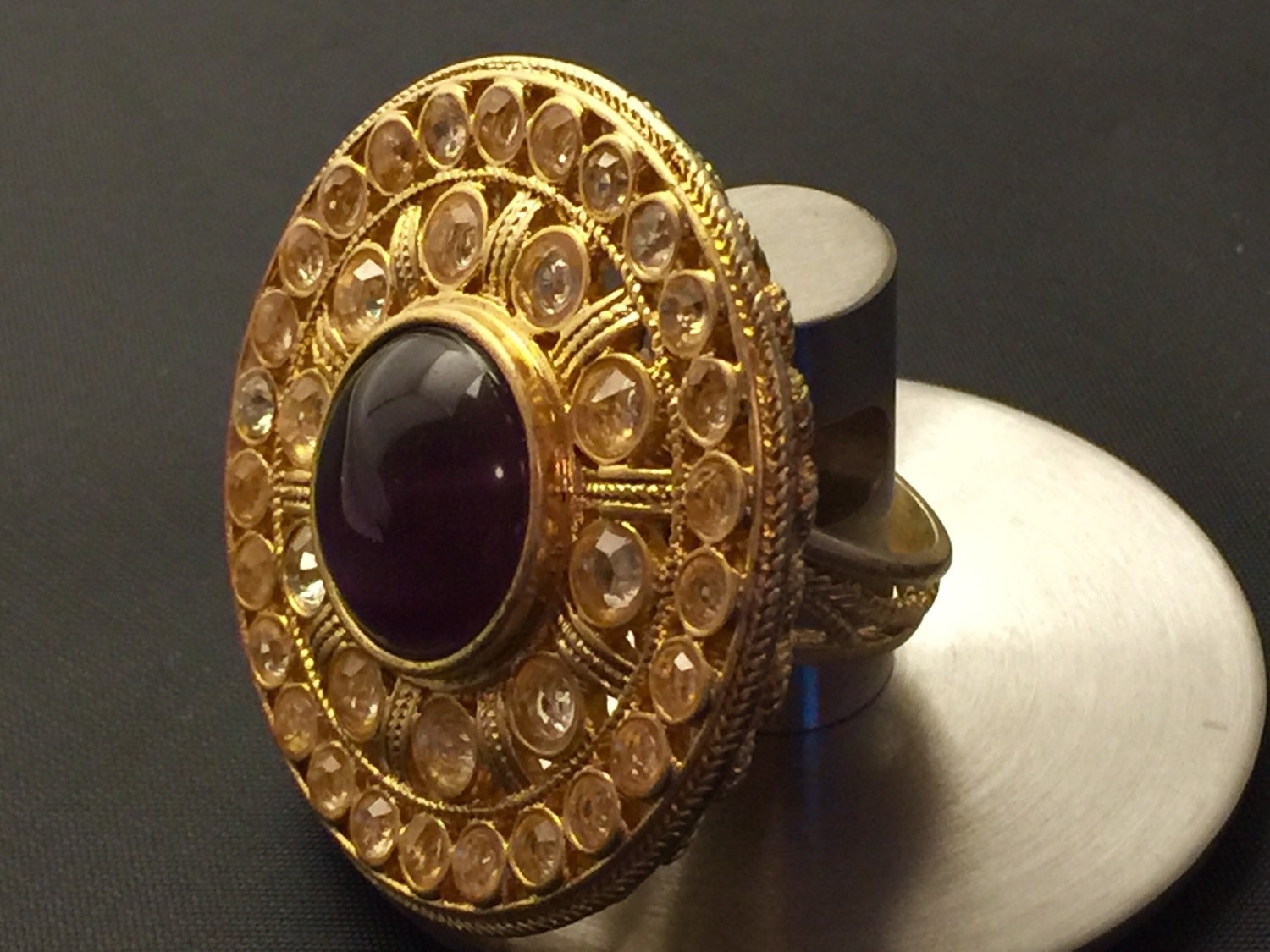 vintage japanese gold ring unique statement ring amethyst
