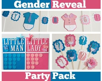 Gender reveal party pack, Gender reveal party decorations,  party ideas, Gender reveal game, banner, cupcake toppers, boy or girl,