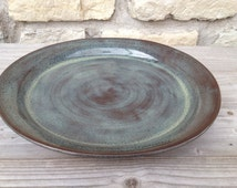 Pottery Dinner Plate on dark clay with Iron Lustre (Blue/Grey) glaze