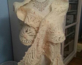 Winter Wonderland - Cream, Knit Wrap Shawl with Pockets