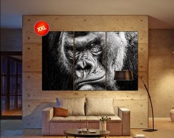 Gorilla canvas art prints large wall art canvas print Gorilla Wall Home office decor interior Office Decor