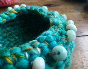 beaded blue fiber bowl, handspun, dyed, crocheted