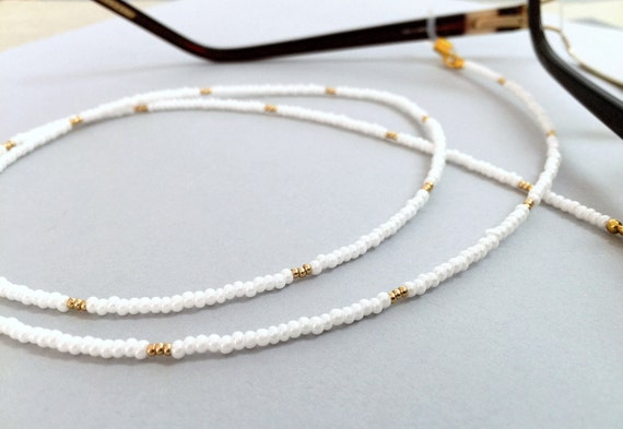 Gold Eyeglass Chain White Gold Chain Glasses Gold by LucKeyMe