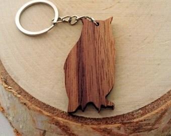 ON SALE, 5% OFF Wooden Owl Keychain, Walnut Wood, Animal Keychain, Environmental Friendly Green materials