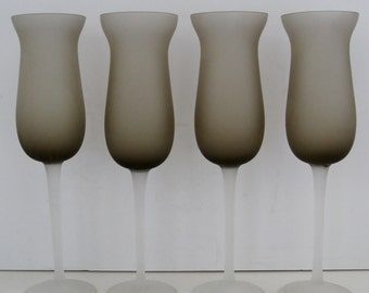 Murano Taupe Fluted Stems, Set of 4