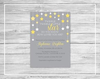 Twinkle Little Star Baby Shower Invitation - Printable Baby Shower Invitation - Twinkle Little Star Shower - Baby Shower Invitation - SP117