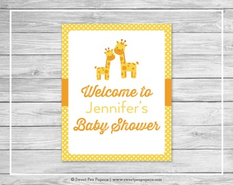 Giraffe Baby Shower Welcome Sign - Printable Baby Shower Welcome Sign - Yellow Giraffe Baby Shower - Shower Welcome Sign - EDITABLE- SP131
