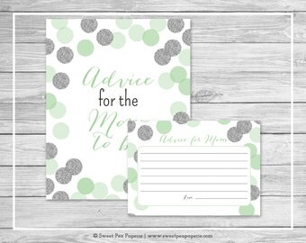 Mint and Silver Baby Shower Advice for Mom Cards - Printable Baby Shower Advice for Mom Cards - Mint and Silver Glitter Baby Shower - SP125