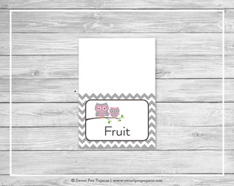 Owl Baby Shower Buffet Labels - Printable Baby Shower Buffet Labels - Pink Owl Baby Shower - Owl Baby Shower- Food Labels - EDITABLE - SP134