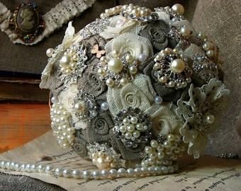 Shabby Chic Wedding Brooch Bouquet, Rustic Wedding Bouquet, Burlap and Lace Country Bouquet, Fabric Bouquet, Pearl Bouquet, Bride Bouquet