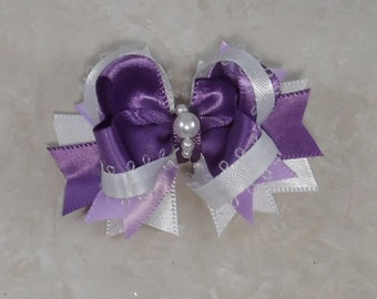 Plum and lilac stacked boutique Dog Bow